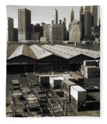 Old New York Harbor Skyline Fleece Blanket