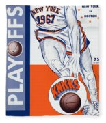New York Knicks V Boston 1967 Playoff Program Fleece Blanket