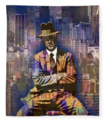 New York Man Seated City Background 1 Fleece Blanket