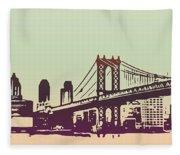 New York Manhattan Bridge Fleece Blanket
