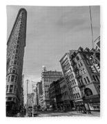 New York Ny Flatiron Building Fifth Avenue Black And White Fleece Blanket
