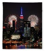 New York Skyline And Fireworks Fleece Blanket