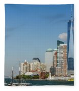 New York Skyline And Sailboat Fleece Blanket
