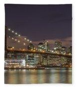 New York Skyline - Brooklyn Bridge - 6 Fleece Blanket