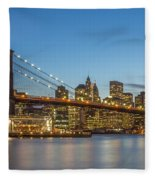 New York Skyline - Brooklyn Bridge Fleece Blanket