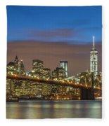 New York Skyline - Brooklyn Bridge Panorama - 2 Fleece Blanket