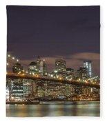 New York Skyline - Brooklyn Bridge Panorama - 3 Fleece Blanket