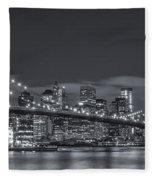 New York Skyline - Brooklyn Bridge Panorama - 4 Fleece Blanket