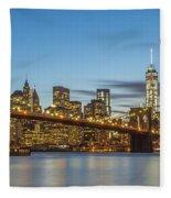 New York Skyline - Brooklyn Bridge Panorama Fleece Blanket