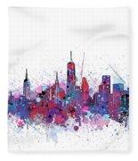 New York Skyline Color Splatter Fleece Blanket