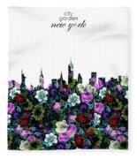 New York Skyline Floral 3 Fleece Blanket