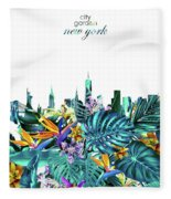 New York Skyline Floral  6 Fleece Blanket