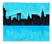 New York Skyline Silhouette Cyan - Da Fleece Blanket