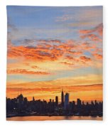 New York Skyline Sunrise Clouds And Color Fleece Blanket