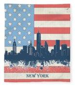 New York Skyline Usa Flag 4 Fleece Blanket