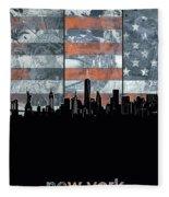 New York Skyline Usa Flag 5 Fleece Blanket