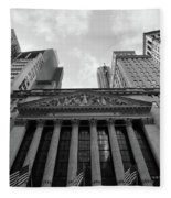 New York Stock Exchange Black And White Fleece Blanket