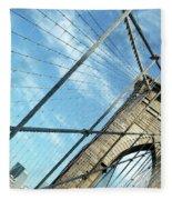 New York Usa  Brooklyn Bridge Towards Manhattan. Fleece Blanket