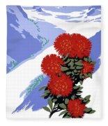 New Zealand Rata Blossom Vintage Travel Poster Fleece Blanket