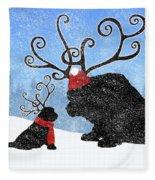 Newfie Reindeer Fleece Blanket