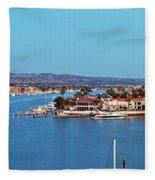 Newport Beach Harbor At Dusk Fleece Blanket