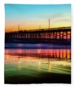 Newport Beach Pier At Sunrise Fleece Blanket