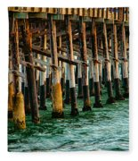 Newport Beach Pier Close Up Fleece Blanket