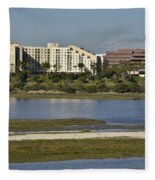 Newport Estuary Looking Across At Major Hotel And Businesses Fleece Blanket