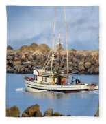 Newport Oregon - Coastal Fishing Fleece Blanket