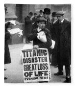 Newsboy Ned Parfett Announcing The Sinking Of The Titanic Fleece Blanket