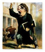 Newsboy Shouting, 1847 Fleece Blanket