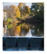 Newton Upper Falls Autumn Waterfall Reflection Fleece Blanket
