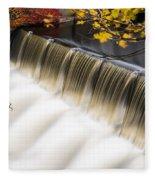 Newton Upper Falls Autumn Waterfall Fleece Blanket