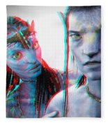 Neytiri And Jake Sully - Use Red-cyan 3d Glasses Fleece Blanket