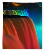 Niagara Falls At Night Fleece Blanket