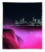 Niagara Falls At Night - Pink Fleece Blanket