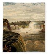 Niagara Falls With Rainbow, 1860 Fleece Blanket