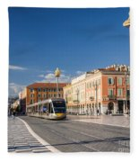 Nice Tramway At Place Massena Fleece Blanket