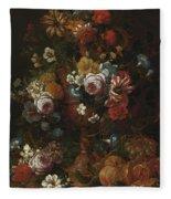 Nicolaes Van Veerendael Antwerp 1640 - 1691 Still Life Of Roses, Carnations And Other Flowers Fleece Blanket