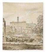Nicolas-didier Boguet   1755 - 1839   View Of The Roman Forum With The Temple Of Castor Fleece Blanket