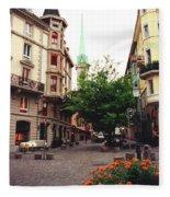 Niederdorf Square In Zurich Switzerland Fleece Blanket