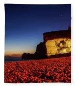 Night At Etretat Beach Fleece Blanket
