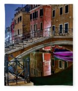 Night Bridge In Venice Fleece Blanket