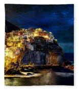 Night Comes To Manarola - Vintage Version Fleece Blanket