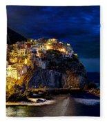 Night Comes To Manarola Fleece Blanket
