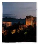 Night Comes To The Alhambra Fleece Blanket