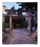 Night Falls On Esaka Shrine Fleece Blanket