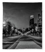 Night Falls On The City - Philadelphia - Black And White Fleece Blanket