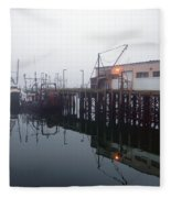 Night Fog Along The Dock Fleece Blanket