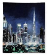 night in Dubai City Fleece Blanket